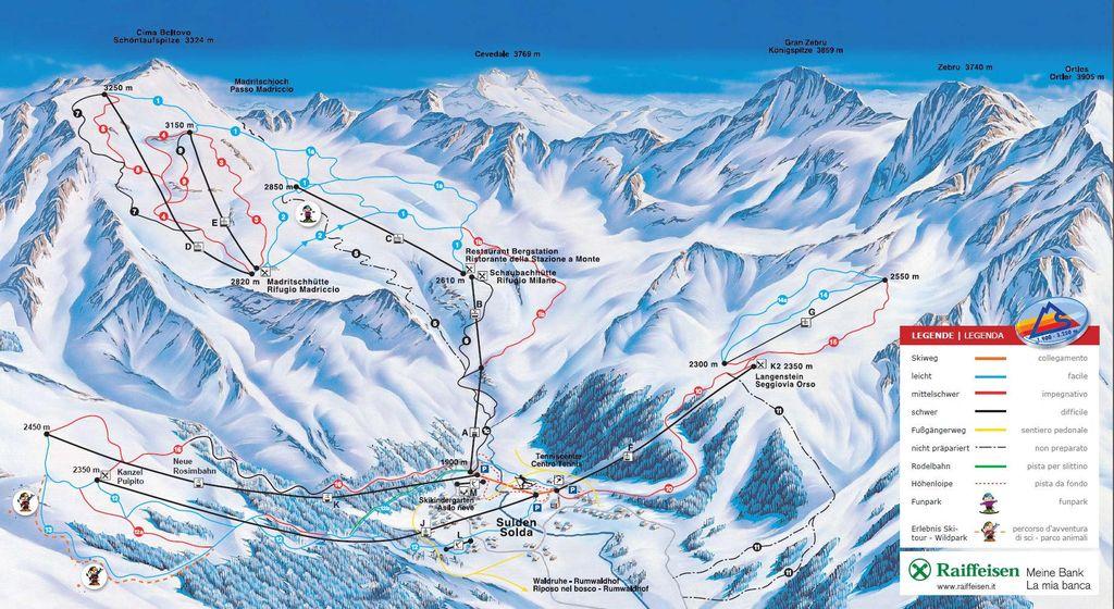 Solda Sulden Włochy mapa tras